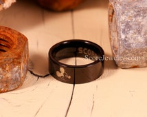 Black Tungsten Band with Flat Edge Mickey Mouse Ring- 8mm Tungsten Ring