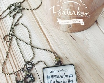 Anchor Necklace, Handwriting Jewelry, Psalm 93:4, Scripture Accessory, Bible Verse Necklace, Graduation Jewelry for Her, Infertility Jewelry