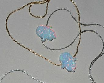OPAL HAMSA NECKLACE // Opal Necklace - White Opal Hand Necklace - Hand Of Fatima Necklace Silver - Hand Of Hamsa Necklace - Opal Jewelry