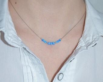 OPAL NECKLACE // Dot Necklace Opal - Opal Ball Necklace - Opal Bar Necklace - Dark Blue Opal Bead Necklace - Opal Charm Necklace