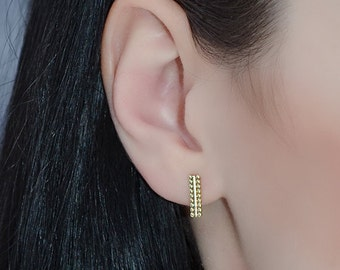 14k Gold Filled STUD EARRINGS // Gold Bar Ear Studs - Cartilage Earring - Helix Earring Studs - Cartilage Stud