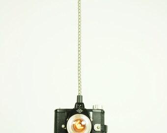 BLACK mid century modern camera hanging lamp - pendant lamp camera - industrial lighting - vintage pendant light - recycled camera light