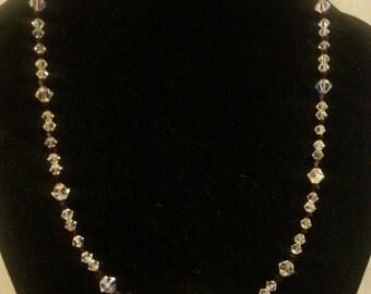 Ruby crystal necklace, aurora borealis jewelry, red crystal holiday jewelry, bridal necklace, formal jewelry, wedding jewelry, prom jewelry