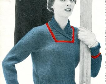 1950's Lady's Slip On Ski Sweater Knitting PDF Pattern Instant Download