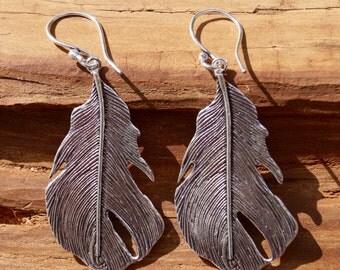"Boho Earrings ""Feather"" Silver, Silver Coated Feather Earrings"
