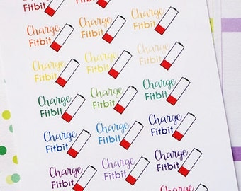 Planner Stickers Charge FitBit Reminder for Erin Condren, Happy Planner, Filofax, Scrapbooking