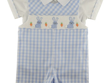Baby Boy Easter Bunny Smocked Overall Set. Size: 12M