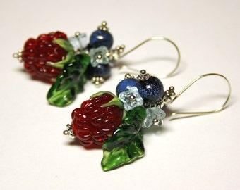 Handmade lampwork berries earrrings, glass earrings, raspberries earrings  MADE-TO-ORDER
