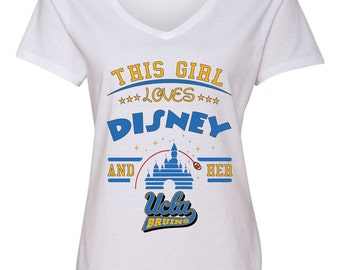 Girl/Guy Love Disney and UCLA Bruins football Shirt FREE SHIPPING