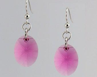 Pink Crystal Drop Earrings - E2582