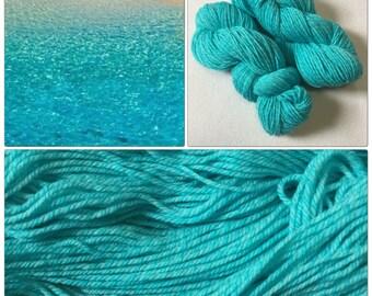 Hand Dyed Yarn, Hand Painted Yarn, DK, Tweed, Marl, Merino, Color: Turquoise Sands