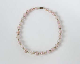 Vintage Pink Murano Glass Bead Choker Necklace