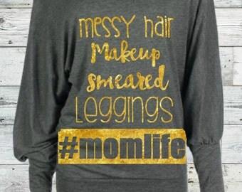 Mom Life Batwing Tee (off shoulder)