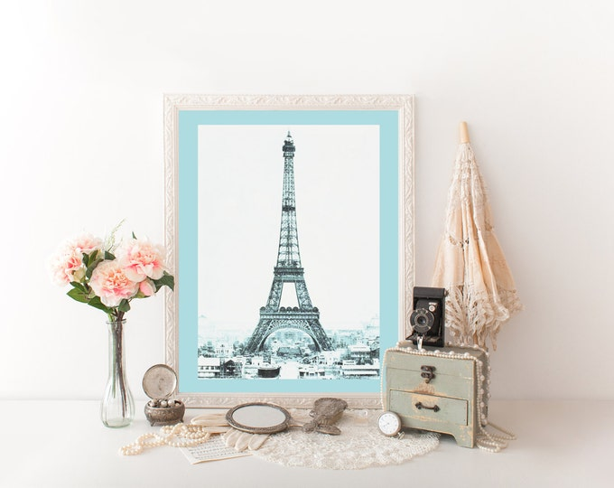 VINTAGE EIFFEL TOWER Photography Digital art Print Baby Blue Tinted Photograph Paris Digital art Print Eiffel Tower Poster French Printable