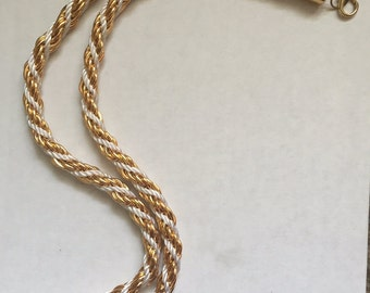 White + Gold Rope Chain Necklace