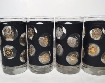 Libbey Glass Black and Gold Coin Glasses, Set of 4, Black and Gold Retro Barware, Mid Century HighBall Glasses, Mad Men Highball Tumblers