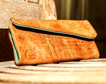 Brown-Green Women's Leather Wallet - Leather Womens Wallet - Leather Wallet - Wallet Case - Leather Women's Purse - Leather Clutch Bag