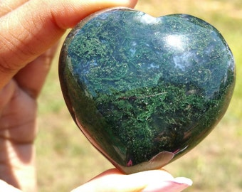 Adorable 45mm GREEN MOSS AGATE Puffy Heart - Healing Crystals - Metaphysical - Spirituality - Carved Gemstones - Crystal Therapy