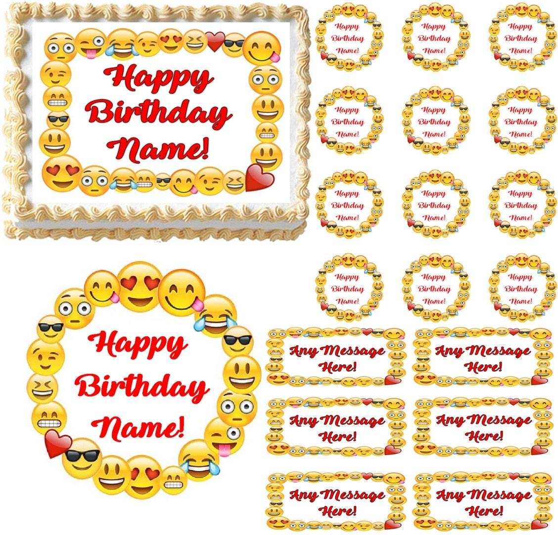 Emojis Border Emoticons Edible Cake Topper Image Emoji