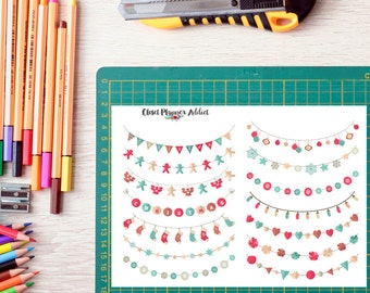 Christmas Celebration Weekend Bunting Banners Planner Stickers (FP-004)