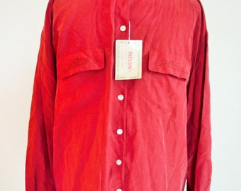 Vintage Mens Silk Shirt / Buttons down / Pure Silk / Large / XL / 100% Silk / Shirts / 80s / Ornaments / long sleeves / Red / Indian / 46