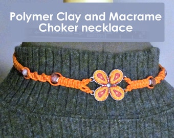 Orange Macrame Choker Necklace ~ Butterfly Flower Design ~ Polymer Clay with Knotted Hemp and Purple Glass Beads - adjustable fit