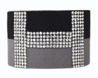 Cuff Bracelet - 'H' - Black/Grey Suede and Diamante