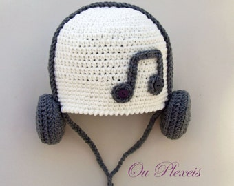 Crochet baby hat, hat with headphones, crochet baby beanie, toddler hat, handmade crochet hat, boy and girl hat