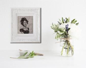 Fine art print, limited edition print, Art Print, Wall art, monoprint painting, home decor, monotype print, black and white