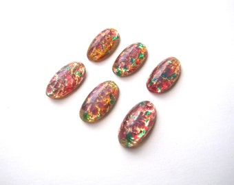 NOS Glass Fire Opal Cabochons 20x10mm Cabochon (Qty 6) Vintage glass oval cabochons