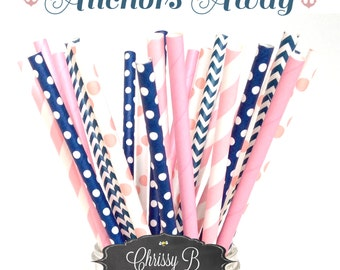 Pink and Navy Blue Paper Straws (ANCHORS AWAY Theme) Pack of 25 Straws  - Pink, Navy Blue, Gold - Nautical Birthday Party, Baby Shower
