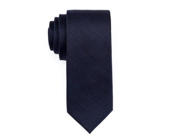 Dark Blue Wool Tie.Solid Skinny Tie.Mens Tie Blue. Mens Gifts