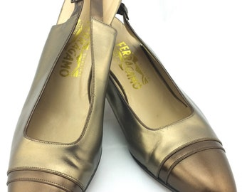 FERRAGAMO Vintage Bronze Pumps - Metallic Bronze and Brown Slingback Heels - 1980's Salvatore Ferragamo Leather Shoes - Size 11