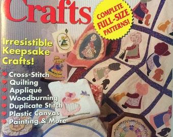 Sunbonnet Crafts Magazine - August 1992 - Cross-Stitch Quilting Appliqué Wood-burning Plastic Canvas Painting & More