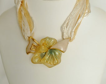 Choker Necklace by Emanuel Ungaro bib Golden brass and resin suspended by woven Ribbon