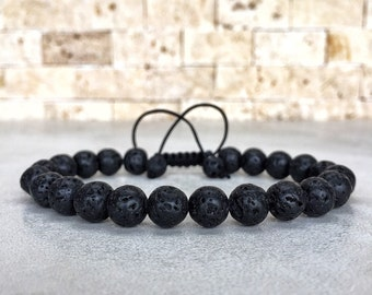 Mens Lava Bracelet, Mens Bracelet, Bracelet For Men, Man Bracelet, Simple Bracelet, Minimal Bracelet, Lava Stone Bracelet, Macrame Bracelet