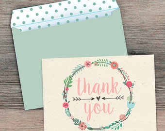 Rustic Thank You Cards, Bridal Thank You Cards, Printable Thank You, Floral Thank You Cards, Bridal Shower Thank You Cards, Instant Download
