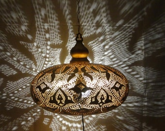 Handmade Hanging Light & Shadow Chandelier Brass Gold Color