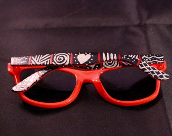 Pattern Hand Painted Sunglasses (Ready To Ship) / Gifts for Her / Stocking Stuffers / Hearts / Design / Spirals / Cute / Girly / Sunnies