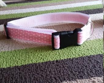 Pink and White Polka Dot Collar
