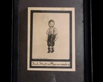 Humorous 1908 postcard of juvenile delinquent, in original frame