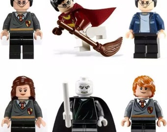 Harry Potter 6 pcs Minifigures Hermione,Ron Weasley,Lord Voldermort & lego wand