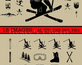 Ski SVG, Skier Cameo Silhouette Design, Skier Logo Cricut Design, Ski Monogram, Cutting File, Eps, svg, ai, dxf, png