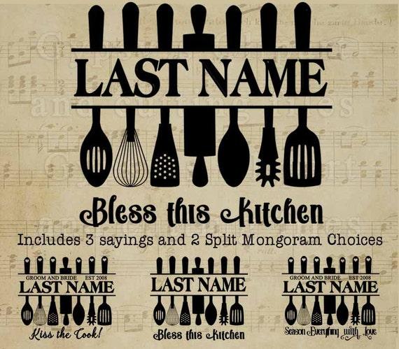 kitchen svg kitchen monogram wedding monogram split
