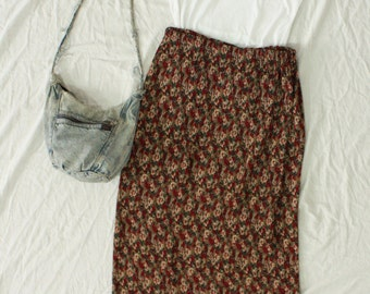 Vintage 1990s Express Midi Long Skirt with All Over Multi Color Floral Pattern and Pleats! Plus Size L