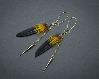 Gold spikes Gothic Feather earrings: Black feathers Gothic earrings  Goth earrings Punk earring Black Spikes earrings Black earrings