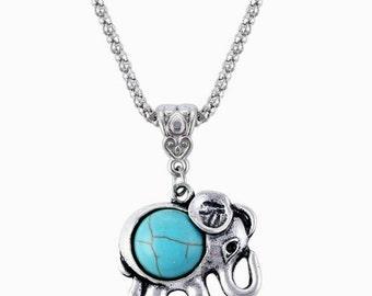 SALE! Turquoise Elephant Necklace - Bohemian Necklace - Charm Necklace - Pendant Necklace - Valentines Day Gift
