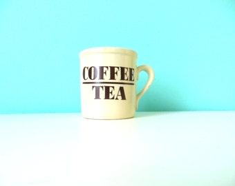Coffee or Tea Mug // 1980's Typography Mug // Brown and Tan