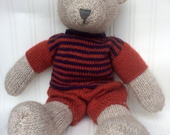 Hand knitted teddy bear, knitted teddy, knitted bear, teddy with clothes,bear with clothes