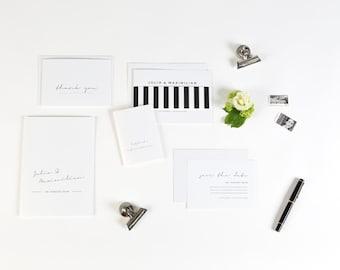 Einladung Hochzeit Black and White edel in schwarz und weiß - Kaution